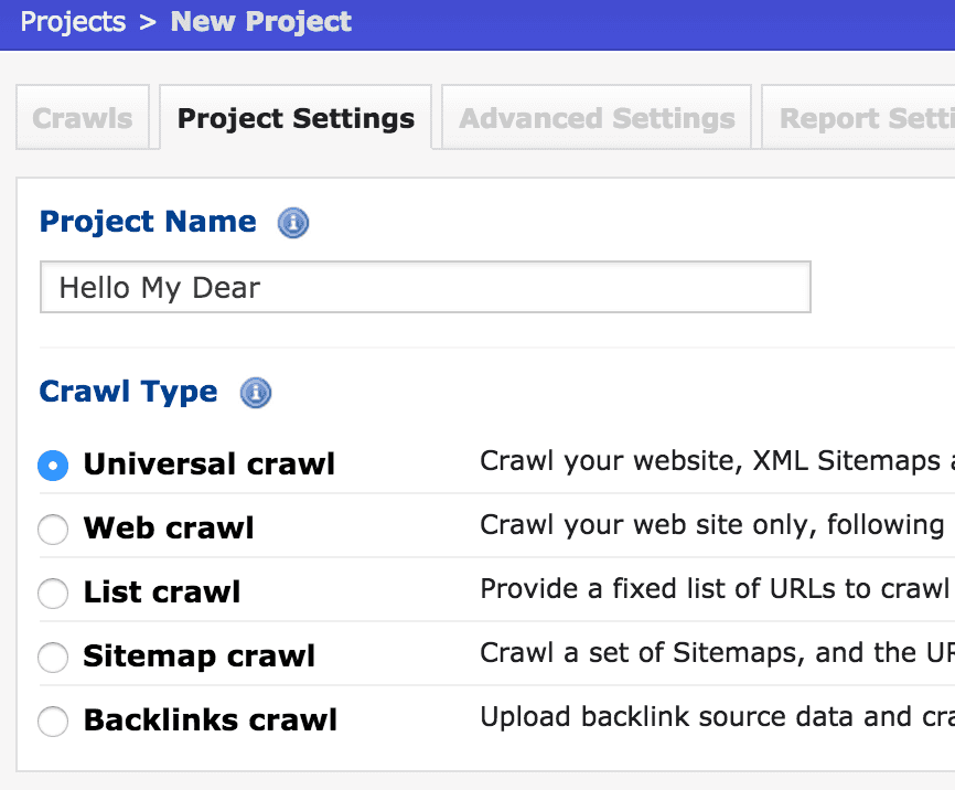 deep crawl project settings