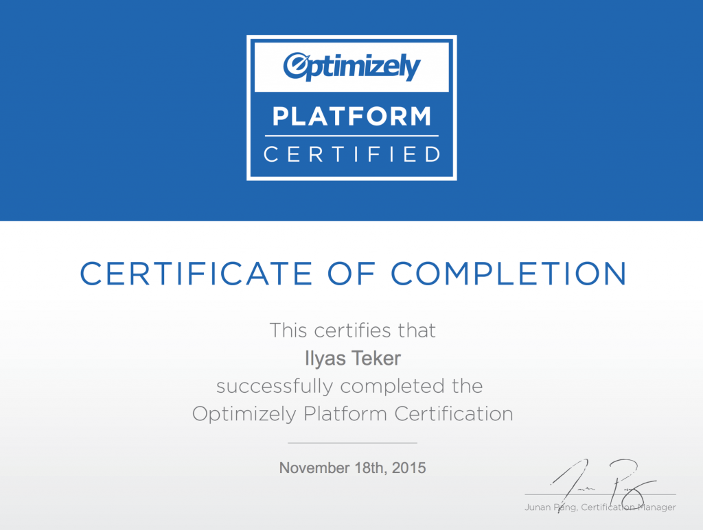 ilyas teker optimizely certification